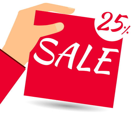 proposition: Hand holds a 25 per cent discount on prices. Special offer for holidays and weekends. Design element in a flat style.