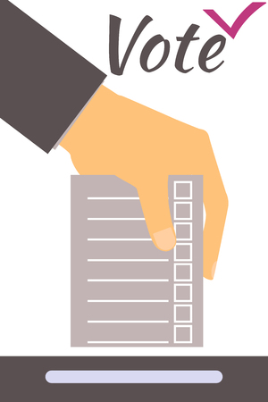 slot in: Hand holds form or ballot. Social poll. Elections. Vote. Illustration in a flat style.
