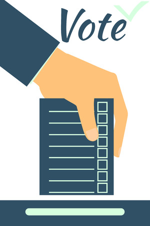 to designate: Hand holds form or ballot. Social poll. Elections. Vote. Illustration in a flat style.