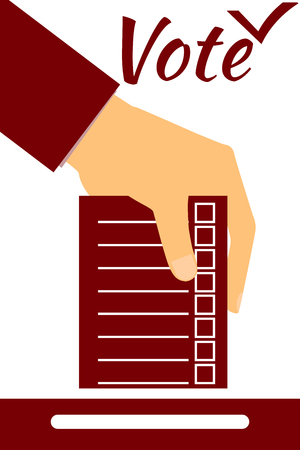 designate: Hand holds form or ballot. Social poll. Elections. Vote. Illustration in a flat style.