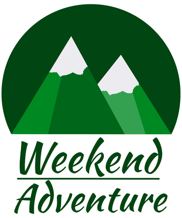 cusp: Weekend adventure in the mountains. Design element in a flat style. Mountain adventure. Illustration