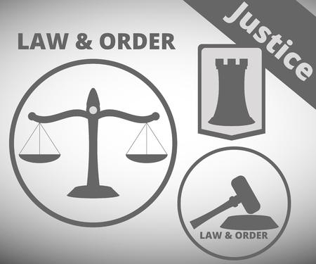 mandato judicial: La ley y el orden. El s�mbolo de la justicia y el derecho. Escalas mazo de la justicia. Protecci�n en la Corte. Ilustraci�n del vector. Vectores