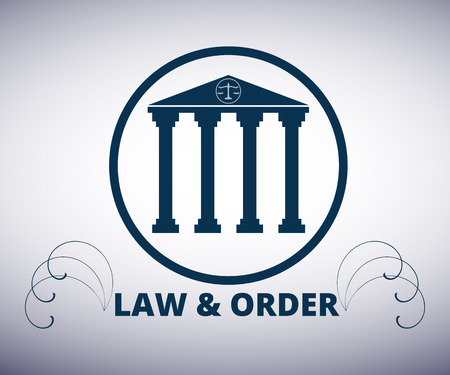 supreme: Law and order. Courthouse. The building with columns. Vector icon. Logo.