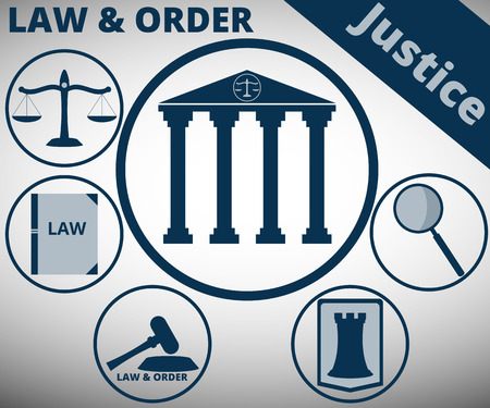 fair trial: Law and order. The symbol of justice and law. Scales, hammer of justice. Protection in court. Vector infographics, minimalistic icons.