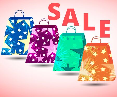 packets: Beautiful shopping bags. Sales, discounts, percent. Gift packaging. Packets.  Illustration