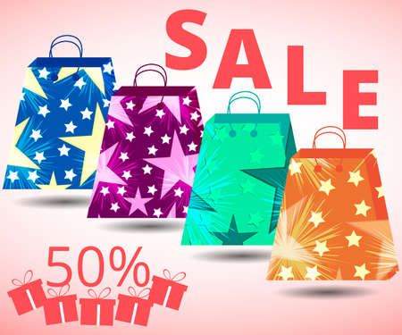 packets: Beautiful shopping bags. Sales, discounts, percent. Gift packaging. Packets.