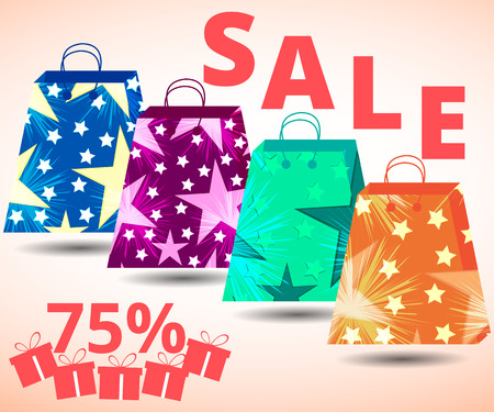 packets: Beautiful shopping bags. Sales, discounts, percent. Gift packaging. Packets. Vector illustration.