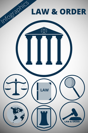 justicia: Infografía sobre el tema de la justicia. Iconos atributos de la agencia de la corte y el abogado. Iconos minimalista.