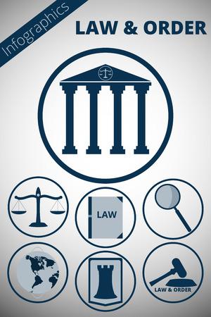 justiz: Infografik zum Thema Gerechtigkeit. Icons Attribute des Gerichts- und Anwaltsbüro. Minimalistische icons. Illustration