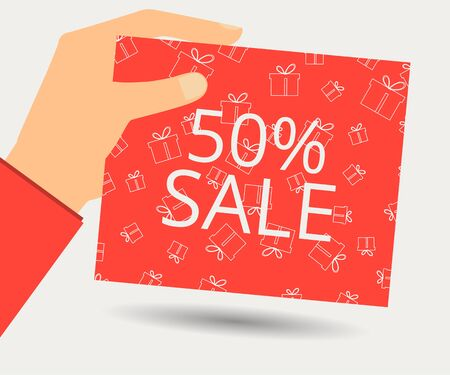 proposition: Hand holds a 50 percent discount on the price. Special offer for holidays and weekends. Card with a seamless pattern of gift boxes. Design element in a flat style.