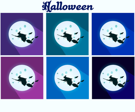 wicked set: The witch flying on a broom on background of the moon. Set of icons.