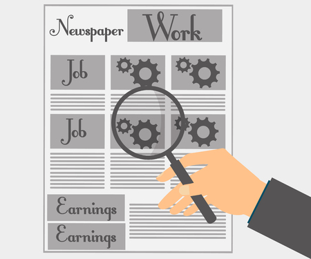 job offers: Read a newspaper through a magnifying glass. View news and job offers.