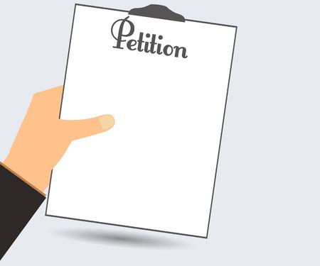 renuncia: Petici�n. La petici�n de mano. Ilustraci�n del vector en un estilo plano. Elemento de dise�o.
