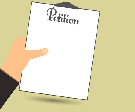 petition: Petition. The petition in hand. Vector illustration in a flat style. Design element. Illustration