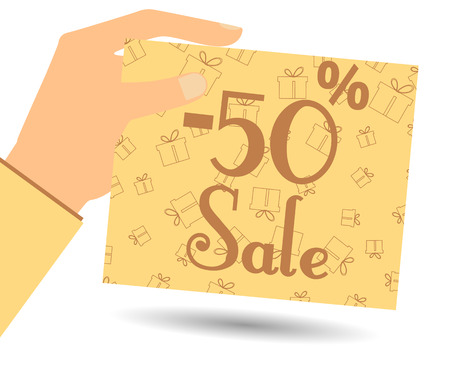 proposition: Discount coupons in hand. Special offer for holidays and weekends. Card with a seamless pattern of gift boxes. Design element in a flat style.