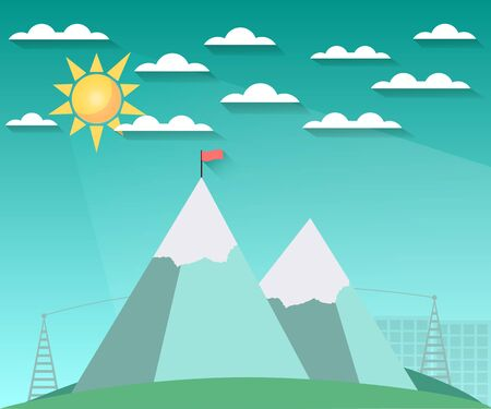 snowcovered: Landscape in a flat style with sun, clouds and mountains. The flag on top. Snow-covered hills. The long shadow. illustration of a sunrise. Illustration