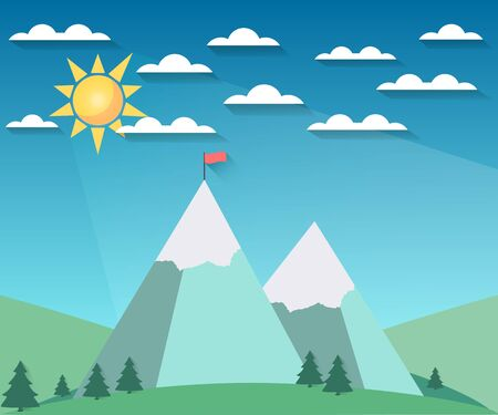 hill: Landscape in a flat style with sun, clouds and mountains. The flag on top. Snow-covered hills. The long shadow. illustration of a sunrise. Illustration