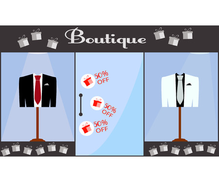 Showcase. Boutique. Jacket and vest with a tie behind the glass showcases. White and black jacket. Red tie. Sale of 50 percent. 矢量图像