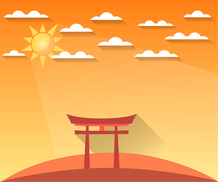 shinto: Japan Gate. Torii gate. Shinto. Landscape in a flat style with sun and clouds. illustration of sunrise, sunset. Sight.