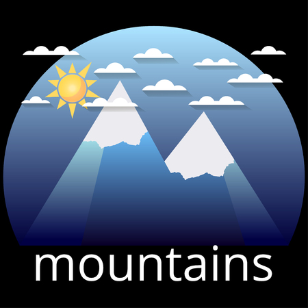 Snow-covered mountain peaks, label. The sun, clouds and two peaks on a blue background. Illustration
