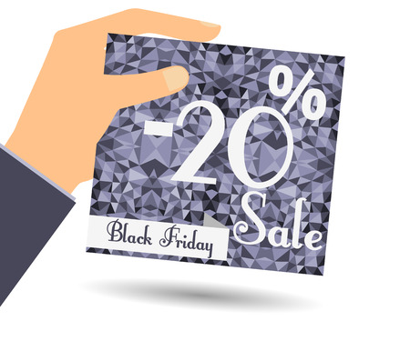 interim: Discount coupons in hand. 20 percent discount. Special offer for holidays and weekends. Card on polygon background in dark colors. Design element in a flat style. Illustration