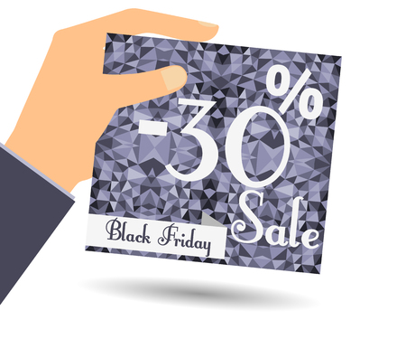interim: Discount coupons in hand. 30 percent discount. Special offer for holidays and weekends. Card on polygon background in dark colors. Design element in a flat style.