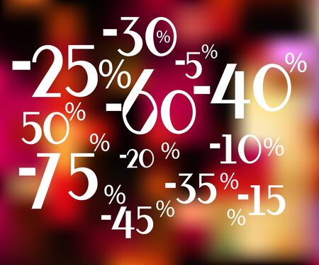 noticeable: The numbers and the percentage discount on a blurred background. From 5 to 75 percent. Vetornaya illustration