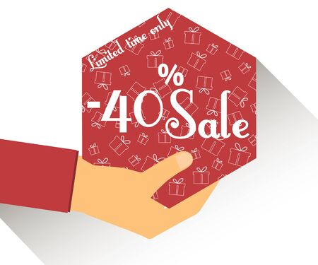 40: Discount coupons in hand. 40 percent discount. Special offer for holidays and weekends. Card with a seamless pattern of gift boxes. Design element in a flat style.