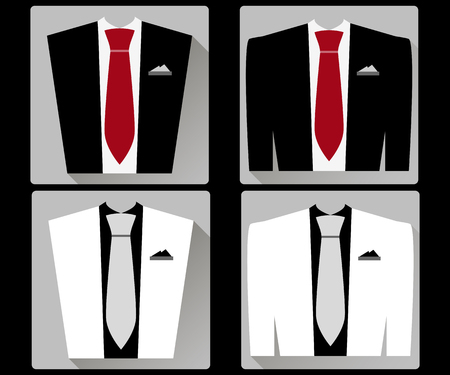 red tie: Jacket and vest with a tie in a flat style. White and black jacket. Red tie.