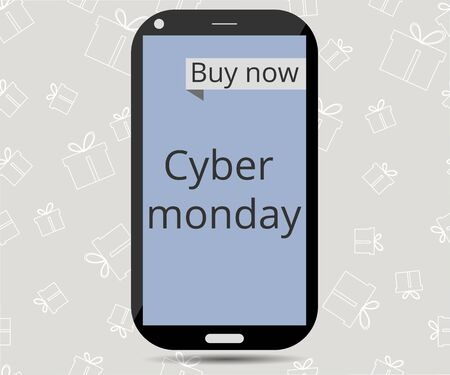 Cyber Monday. Sale. Smartphone on seamless background of gift boxes.