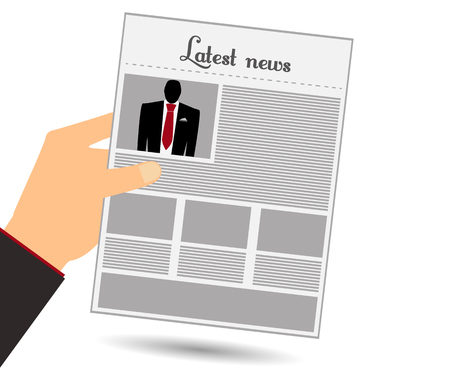 newspaper read: Hold in your hand a newspaper. Read the newspaper. Man in a suit and red tie. View news in the newspaper. Illustration