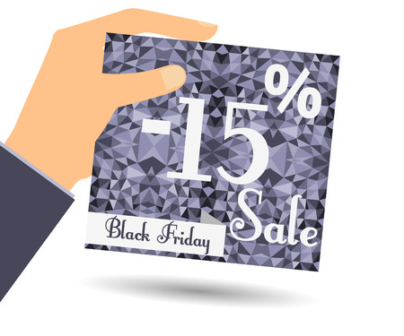 interim: Discount coupons in hand. 15 percent discount. Special offer for holidays and weekends. Card on polygon background in dark colors. Design element in a flat style. Illustration