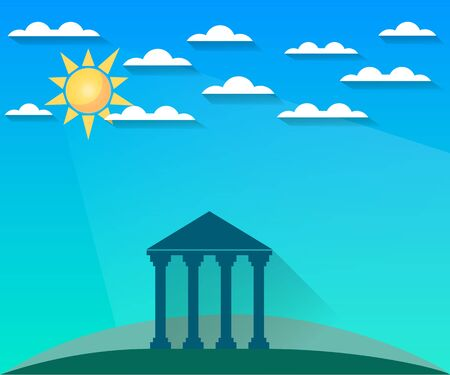 hellenistic: Greek and Roman architecture. The monument of architecture with columns in a landscape with clouds and sun. Sight.