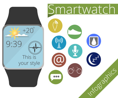 Smart watch. Application icons and function of smart hours. Fitness Tracker. Infographics. illustration in a flat style.