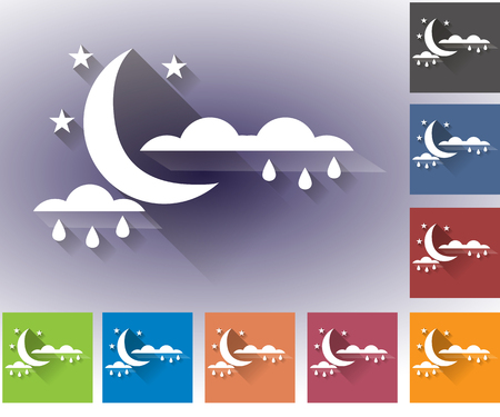 forecasting: Weather set of icons in a flat style. Rain. Moon with clouds and rain drops. Multicolored icons for weather forecasting. Illustration