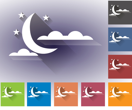 nebulosidade: Cloudiness. Moon with clouds. Set of vector icons of weather. Multicolored icons for weather forecasting.