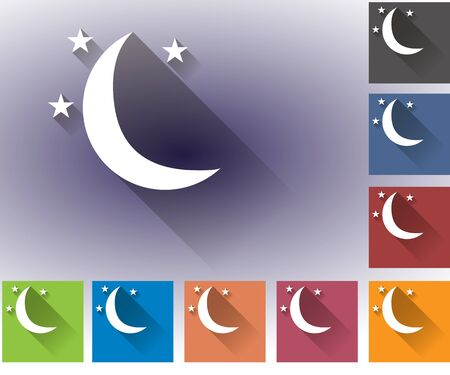 forecasting: Weather set of icons in a flat style. Moon and stars. Multicolored icons for weather forecasting.