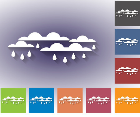 nebulosidade: Weather set of icons in a flat style. Cloudiness. Clouds with rain drops. Multicolored icons for weather forecasting.