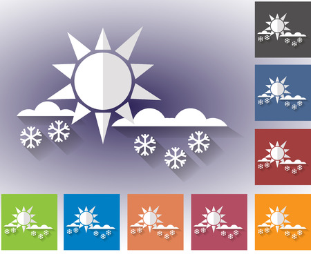 forecasting: Weather icons set in a flat style. Overcast and snow. Sun. Multicolored icons for weather forecasting.