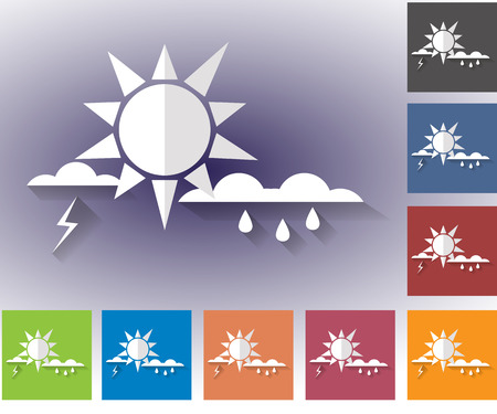 storm rain: Weather set of icons in a flat style. Storm. Rain clouds and lightning. Multicolored icons for weather forecasting.