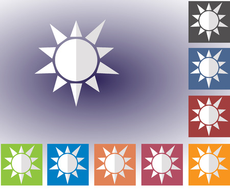 forecasting: Weather set of icons in a flat style. Sun. Multicolored icons for weather forecasting. Illustration