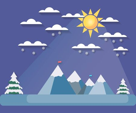 snowcovered: Winter landscape with a flat style. Sun with clouds on the mountain tops. The falling snow. Snow-covered trees. The flag on top. The long shadow. Vector illustration.