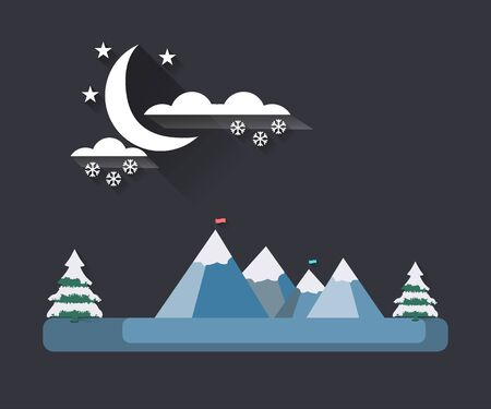 snowcovered: Winter landscape with a flat style. Moon with clouds on the mountain tops. The falling snow. Snow-covered trees. The flag on top. The long shadow. Vector illustration.