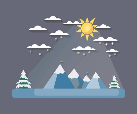 Winter landscape with a flat style. Sun with clouds on the mountain tops. The falling snow. Snow-covered trees. The flag on top. The long shadow. Vector illustration.