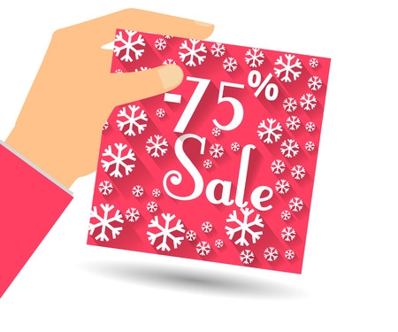 holds: Winter sale. Discount of 75 percent. Hand holds percent discount on the price. Gift card with a winter pattern with snowflakes in a flat style. Illustration