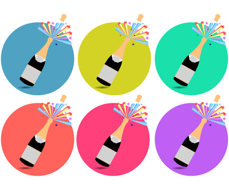 bung: Champagne. Cork flying out of a bottle. Icons in a flat style.