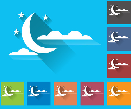 cloudiness: Cloudiness. Moon with clouds. Set of vector icons of weather. Multicolored icons for weather forecasting.
