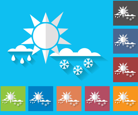 forecasting: Weather set of icons in a flat style. Wet snow. Rain with snow. Multicolored icons for weather forecasting.