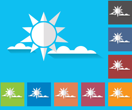 nebulosidade: Cloudiness. Sun with clouds. Set of vector icons of weather. Multicolored icons for weather forecasting.