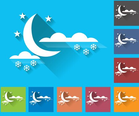 overcast: Weather icons set in a flat style. Overcast and snow. Moon. Multicolored icons for weather forecasting.